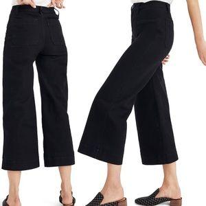 Madewell Black Emmett High Rise Crop Wide Leg pant